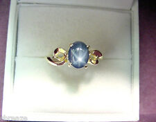 RICH BLUE GENUINE STAR SAPPHIRE 1.48 CTS 14K GOLD RING