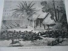 Gravure 1865 - Bande de Chacals aux environs de Calcuta