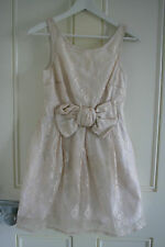 River Island, Pale Pink Lace Dress, Front Bow Detail, Size 10