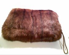 Vintage Genuine MINK FUR MUFF Hand Warmer Satin Lined Perfect Condition