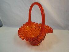 Vintage Orange Ruffled Glass Bride's Basket Hobnail Applied Handle