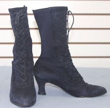 Victorian Granny Vintage Authentic Stuart Weitzman Navy Lace Up Boots WMS Size 7