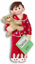Boy in PJ's Pajamas  Personalized Christmas Ornament Polymer Clay Deb & Co.