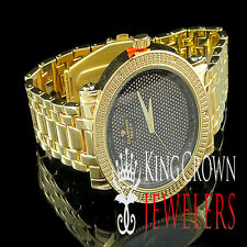 New Iced Out Mens Jo Rodeo 14k Yellow Finish Real Diamond Round Watch Metal Band