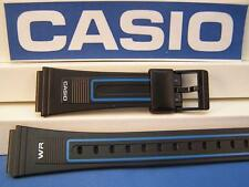 Casio Watch Band AQ-17 19mm Black Rubber Sport Strap W/ blue Outline Decoration