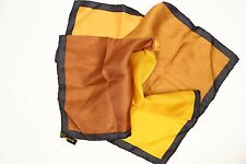 """Dumont 4 Way Silk Pocket Square 18"""" Rolled Edge Brown Gold Yellow Ochre Block"""