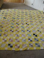 Large Vintage Unfinished Patchwork Quilt Top  Hand Sewn Yellow Mulit 82x76