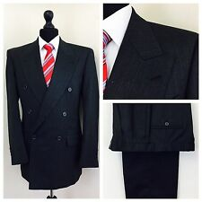 Next Mens Suit 38R W32 L30 Double Breasted Grey Formal Business       (V41)