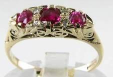 Qualità superiore 9k oro AAA RUBY & Diamante metà Cerchio Anello