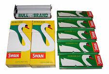 METAL BULL BRAND CIGARETTE TOBACCO ROLLING MACHINE + 5 PAPERS + 2 SWAN FILTERS