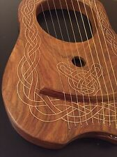 CELTIC HARP LYRE 10 Metal Strings Solid WOOD NATURAL Finish.