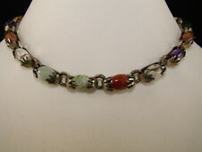 """TAXCO STERLING """"JELLY BEAN"""" GEMSTONES NECKLACE MID CENTURY 75.4 GMS TUBAC ESTATE"""