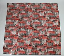 New Bottega Veneta Large Black White Red Line Patterned Silk Scarf 339043 6974
