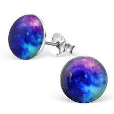 New 925 Sterling Silver Galaxy Logo Stud Earrings Space Stars