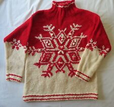 Womens Sz S Express Tricot Vtg Wool Heavy Red Knit Snowflake Sweater Ski Nordic
