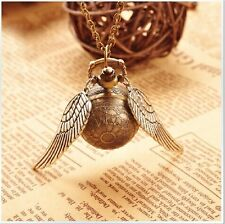 Woman Harry Potter Golden Snitch Quartz Pocket Watch+Sweater Necklace Chain Gift