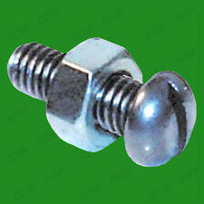 "30x 2BA 1/2"" Slotted Round Head Steel Machine Screws, Nut & Bolt Set Zinc Plated"
