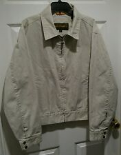 TIMBERLAND Weathergear Beige Canvas Cotton Full Zip Jacket Coat / Mens Large