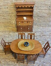 Vintage Dollhouse Furniture Dinning Set Dinning Kitchen Table, Chairs, Cabinet