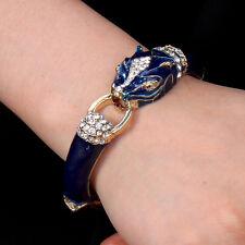 G1764 Leopard Panther Bracelet Bangle Austrian Crystal Animal Blue Enamel