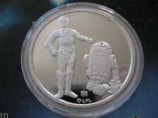 1- OZ.999 LIMITED EDITION SILVER COIN STAR WARS  (DROIDS R2-D2 C-3PO  ) + GOLD