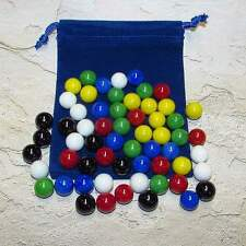 "Mega Fun Chinese Checker 9/16"" (14mm) Opaque Glass Marbles + Pouch (M) 99246082"