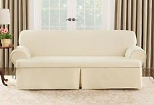 Sofa Natural Cotton Duck canvas piping t cushion One Piece Slipcover sure fit