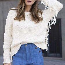 Zara Ecru Knitted Fringe Jumper Size MEDIUM BNWT