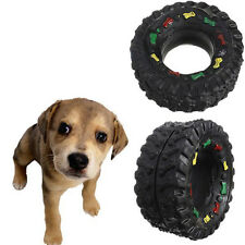 Pet Hard Wearing Rubber Tyre Treads Tough Toy Puppy Dog Cat Chew Squeaky Toys