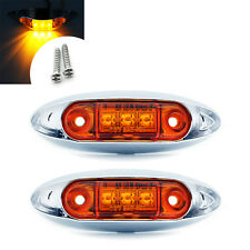 2x Amber 3 LED Fish Shape Side Marker Lamp Clearance Light Truck Trailer Caravan