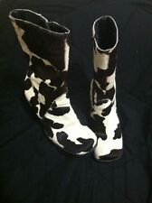 """MIA Women's Brown and White Cowhide Leather Boots Cow Print Size 6 4"""" Heel"""