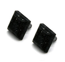 Men Black Finished 13mm M 3D Cube Square Block Lab Cz Studs Stud Earring