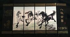 Chinese Boutique collection Lacquer ware painting HORSES folding screen