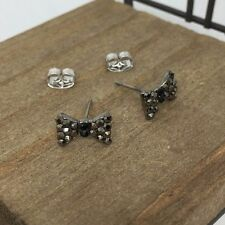 High Quality Black Ribbon Crystal Titanium Stud Earrings US Seller Made in Korea
