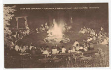 Camp Fire Ceremony Childrens Camp Milford Michigan postcard