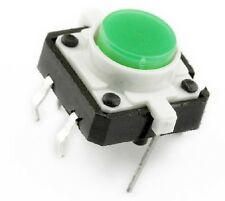 2pcs Green LED Light Momentary Tact Push Button Switch DIP Through Hole