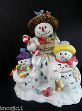 NEW PartyLite SNOWBELL CANDLE HOLDER Votive TeaLight  P7702 Snowman Family NIB!