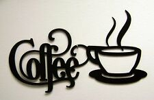 "Black Coffee Sign with Mug 12"" x 6"" - Metal Kitchen Bistro Wall Decor Aluminum"