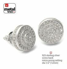 Men's Hip Hop 925 Silver 3D Double Round Screw Back Stud Micro Pave Earring 454S