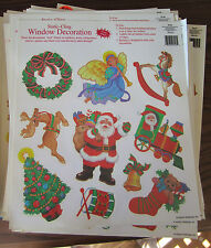 CHRISTMAS WHOLESALE  LOT Of 10 Sheets static-cling WINDOW DECORATIONS nEW