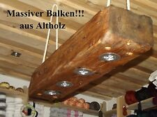Deckenlampe Holz Hängelampe Altholz massiver Balken mit Led Set