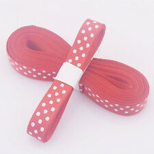 "Red 5yds 3/8"" (10 mm)Christmas Ribbon Printed lovely dots Grosgrain Ribbon"