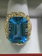10k Gold Ring With Large Swiss Blue Topaz