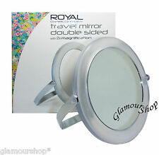 Royal Double Sided Travel Mirror with 2x Magnification 2x mag 10cm diameter