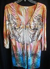 """ONE WORLD - CLASSIC RENAISSANCE PATTERN """"V"""" PULLOVER TUNIC TOP XL NWOT"""