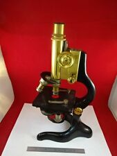 MICROSCOPE ANTIQUE BRASS ERNST LEITZ GERMANY circa 1907 OPTICS AS IS #TC-2