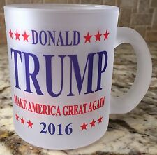 Frosted Glass Coffee Tea Mug Cup 10oz Donald Trump 2016 Make America Great Again