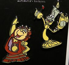 Disney Beauty And The Beast Cogsworth & Lumiere 2 Pin Set New On Original Card