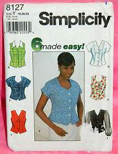 Uncut Simplicity Misses 18-22 Front Button Princess Seam Blouse Pattern 8127