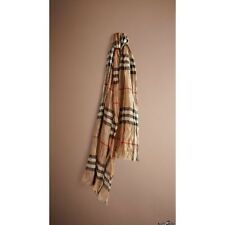 Authentic NEW BURBERRY UNI Crinkled GIANT Camel CHECK CASHMERE Scarf Shawl $995